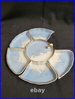 Vtg Mitsu-Boshi Dinner Plates Set White Cranes Birds Blue Sky Hand Painted Japan