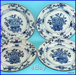 WONDERFUL 18thc ANTIQUE UNDER GLAZED CHINESE PORCELAIN BLUE WHITE FLORAL PLATES