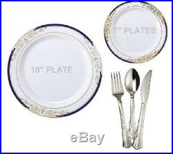 Wedding Party Disposable Plastic Plates & silverware, white / blue gold