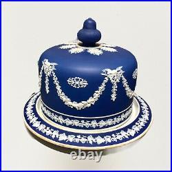Wedgewood Style Jasperware Covered Cake/Cheese Plate Cobalt Blue & White