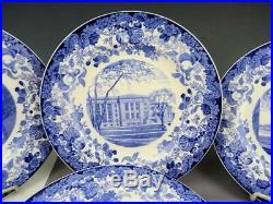 Wedgwood Blue & White Harvard University 10 1/2 Dinner Plates Set of Six