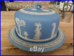 Wedgwood Jasperware Keeper Cheese Dessert Dome Plate Cake Dish Covered Blue 1866