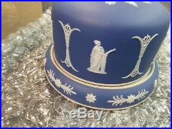 Wedgwood Jasperware Saver Keeper Dessert Dome Plate Cake Dish Covered Blue Roman