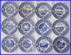 Wedgwood Us Military Academy West Point Blue & White Plates Complete Set Of 12