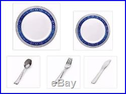 White withBlue Silver Royal Rim China-like Plastic Plates Cutlery Set 500 Pieces