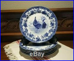 William James Farm Yard Dinner Plates Set of 6 Blue Transfer Ware Blue & White
