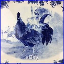 William James Farmyard Rooster Cock Large 16 Platter Serving Plate Blue White