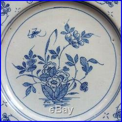 Wincanton or Bristol delft blue & white floral plate with decorators mark