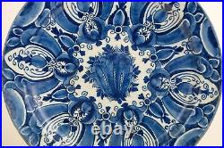 XL ANTIQUE Dutch Delft 18th Century Blue and white plate 35 cm / 14 inch